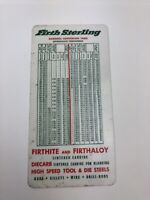 Vintage Firth Sterling Hardness Conversion Table Advertising Ruler Decimals