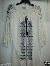 Lucky BRAND 3/4 Sleeve Cream White Embroidered Peasant Top - Plus 1x