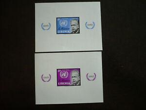 Stamps - Liberia - Scott# 401 & C137 - Souvenir Sheets - Imperf