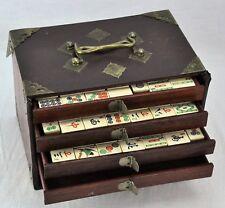 "Antique Mahjong Set in wooden case 9"" x 6"" x 6"". Total 151 bone ti(BI#MK/181109)"