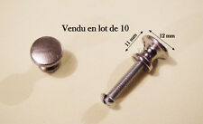 LOT 10 POIGNEE BOUTON TIROIR  DECO MEUBLE METIER  ARGENTE + VIS. 12 mm
