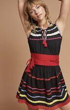 Carolina K Belted Mini Dress black Striped Tassel Crochet Trim M NWT
