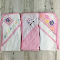 Lot of 3 Baby Girls Lightweight Hooded Bath Towels Pink Floral Infant 26 x 26 in