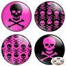 "Hot Pink Skull & Crossbones 1.25"" Pinback Button BADGE SET Novelty Pins 32 mm"