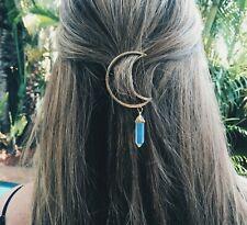 Gold Tone Moon Crescent Barrette Crystal Tumbled Gemstone Hair Clip