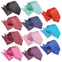 DQT Woven Spotted Polka Dot Casual Mens Slim Tie Handkerchief Cufflinks Set