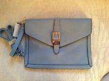 Women's Blue Faux Pebble Leather Large Capacity Crossbody / Wristlet Nwt