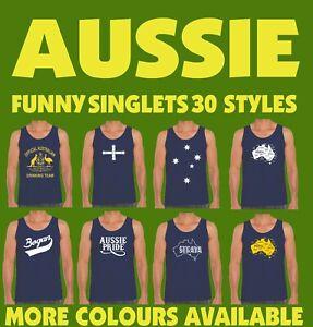 Funny Singlets  Aussie Australian Bogan Mens T-shirt Slang Drinking flag Navy