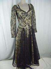 Vtg 50s Romantic Black Floral Lace Overlay Party Dress-Bust 36/XS