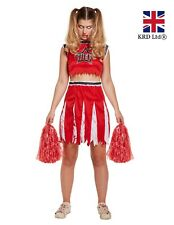 Ladies RED ZOMBIE CHEERLEADER Halloween Scary Fancy Dress Costume Womens UK