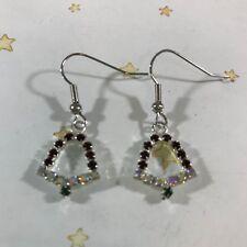 Earrings Christmas Xmas Silver Metal New Red Crystal Bells Dangle Drop Pierced