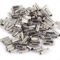 100stk Silber Endkappen für Lederband Baumwoll Perlen Basteln Kettenverschluss
