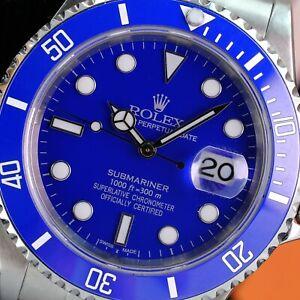Rolex Submariner Date Stainless Steel 40mm-Custom Blue Ceramic-Blue Dial 16610T