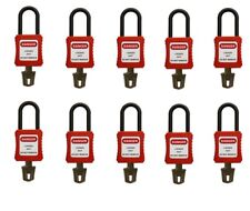 safety padlocks 10pcs short shackle lockout pad locks RED insulation electrical