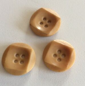"""Collectable Vintage Craft - 3 """" Old Type Plastic"""" 4 Holed Buttons -2.6 Cm Diam"""