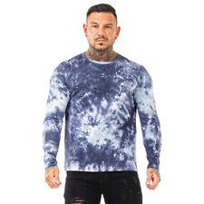 GINGTTO Men Unisex Tie Dye T-Shirt Long Sleeve Slim Fit Camouflage Tee Hipster