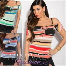 Polyester Short Sleeve Striped Tops for Women
