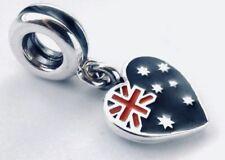 Authentic Pandora Australian Heart Flag Dangle W/ Pandora TAG & BOX #791415ENMX