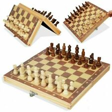 New Large Chess Wooden Set Folding Chessboard Pieces Wood Board UK