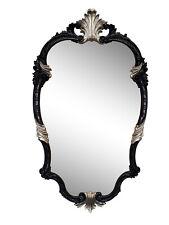 Wall Mirror Black Silver Oval Baroque 99x55 Antique Hairdressing Rococo