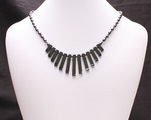Sterling Silver and Black Hematite Fan Necklace