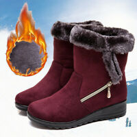 New Womens Winter Warm Calf Snow Boots Winter Plus Cotton Ankle Boots Waterproof
