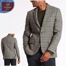 M&S LUXURY Pure WOOL Tailored Fit BLAZER Jacket ~ Size 46 Long ~ NEUTRAL Check