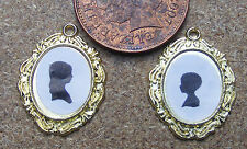1:12 Scale 2 Silhouette Heads In Metal Frames Dolls House Miniature Picture Art