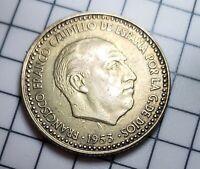 1953 (*56) SPAIN UNA PESETA COIN - HUGE DIE CLASH ERROR - VERY NICE - KM 775