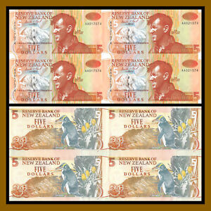 New Zealand 5 Dollars (4 Pcs Uncut Sheet), ND 1992-97 P-177 Penguin Unc