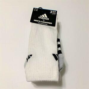 Adidas Socks 3 Pair Cushioned Moisture Wicking Athletic Crew White Black Sz 6 12