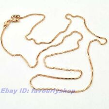 """18"""" 1mm2g THIN BOX CHAIN REAL 18K ROSE GOLD PLATED NECKLACE SOLID FILL GEP 4310n"""