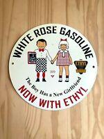 VINTAGE WHITE ROSE GASOLINE PORCELAIN SIGN GAS OIL PUMP PLATE SERVICE STATION NR