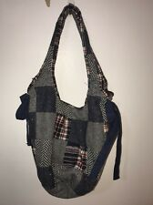 American Eagle Womens Gray Navy Wool Plaid Hobo Shoulder Bag Purse Patchwork
