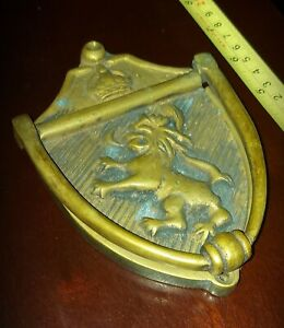 Stunning vintage brass door knocker / football interest Millwall/Aston villa
