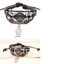 Men Women's Handmade Fish Charm Genuine Leather Adjust Bracelet Jewellery UK