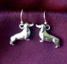 Dachshund/Wiener Dog earrings-small silver tibetan metal charms hook/drop/dangle