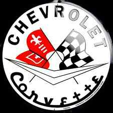 "CHEVROLET CORVETTE 12"" ROUND METAL TIN EMBOSSED RETRO SIGN CHEVY FLAGS GARAGE"
