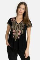 Johnny Was RIANNE KNIT Black Drape Shirt Blouse Top Flower Embroidery Long S NEW