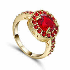 Glittering Size 9 (red)Ruby 10K yellow  Gold Filled Men Engagement Ring