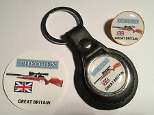 THEOBEN AIRGUNS ` REAL  LEATHER KEY RING & BADGE SET `HUNTING, SHOOTING`