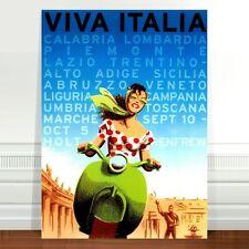 "Vintage Travel Poster Art *FRAMED* CANVAS PRINT 24x16"" ~ Vespa Italy Viva Italia"