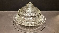 VINTAGE CUT GLASS ROUND DOME BUTTER DISH OR CHEESE DISH