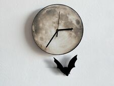 Halloween Bat Swinging on Moon - Pendulum Wall Clock