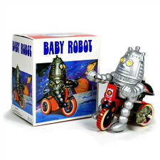 TIN TOY ROBOT on TRICYCLE Wind Up Bike Baby Retro NIB Space Age NEW Collectible