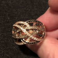 14KR .90 CTW Champagne/Black/White Diamond Ring Womens Size 9 by Rogers &Holland