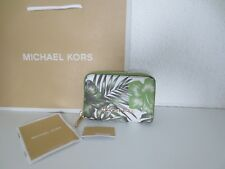 Michael Kors MK Geldbörse TRAVEL ZA COIN CASE JUNGLE GREEN Geldbeutel neu
