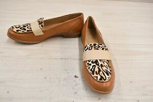 Naturalizer Veronica Leather Loafers, Women's Size 8.5 N, Tan/Cheetah NEW