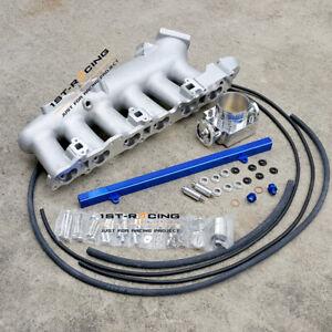 Intake Manifold Plenum+BUFuel Rail+80mm Throttle Body Fit Skyline R33 R34 RB25