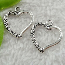 Free Ship 80 pieces tibet silver heart charms 25x22mm #2386